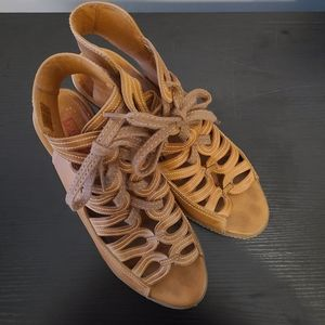 PIKOLINOS Tan Lace Up Low Heel Leather Sandals 40